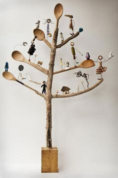 "Wood assemblage tree with wooden spoons for branches.""Tree of life"" by Edwina Bridgeman Arte Assemblage, Found Object Art, Ideias Diy, Junk Art, Paperclay, Driftwood Art, Recycled Art, Tree Art, Tree Of Life"