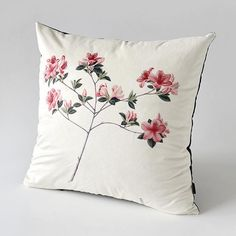 Chinese style Flower throw pillow suede couch cushions 18 in