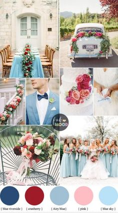 Cranberry, Sky blue wedding Colour combinations for Autumn wedding | fab mood