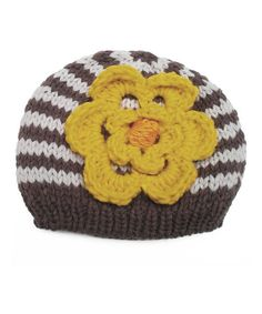Love this Huggalugs Brown & Yellow Flower Crocheted Beanie by Huggalugs on #zulily! #zulilyfinds