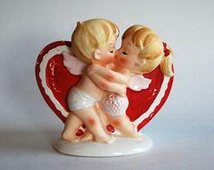 Vintage Valentines Planter, Cupids, Love, Lefton