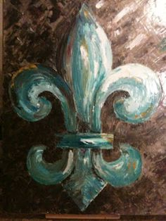 Aqua and brown fleur de lis