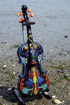 Love this exquisite mosaic violin by CrookedMoonMosaics on Etsy. $1200.00
