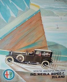 Vintage advertising poster Ing. Nicola Romeo & C. Milano (copy oil on ...