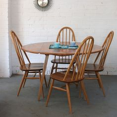 Winter's Moon — Vintage Ercol Drop-Leaf Dining Table & Chairs