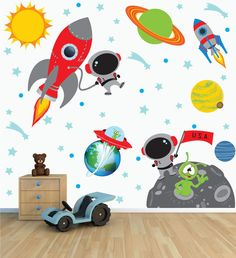 Space Wall Decal with Astronaut Rocket and Moon for Baby Nursery or Boy's Room | eBay