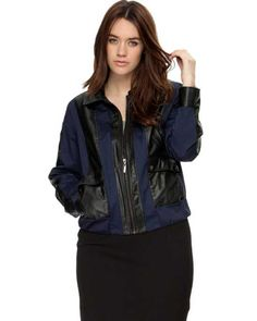 Navy Black Womens Bomber Jacket - Augustus Navy Black Womens Bomber Jacket featuring leather-look panelling and leopard-printed lining.$170.00