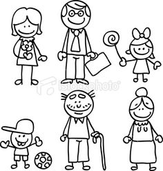 Lineart big family cartoon Royalty Free Stock Vector Art Illustration