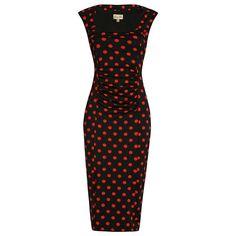 Margarita Black Red Polka Wiggle Dress | Vintage Style Dress-Lindy Bop