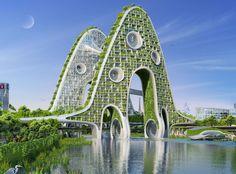 """Vincent Callebaut's 2050 Vision of Paris as a """"Smart City"""",Bridge Tower. Image Courtesy of Vincent Callebaut Architecture Architecture Design, Green Architecture, Futuristic Architecture, Sustainable Architecture, Amazing Architecture, Landscape Architecture, Landscape Design, Pavilion Architecture, Chinese Architecture"""