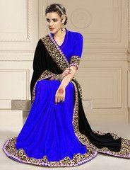 Black & Blue Color Half Velvet & Half Jacquard Crepe Party Wear Sarees : Amrani Collection YF-32990