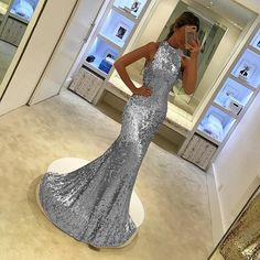 Silver Mermaid Dress,Sequins Gowns,Mermaid Prom Dress,Mermaid Evening Gowns,Sequins Bridesmaid Dress,Silver Bridesmaid Dress