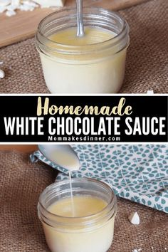 How to make homemade WHITE CHOCOLATE SAUCE! I love mine in coffee but it's great on pancakes and ice cream too. White Chocolate Desserts, White Chocolate Sauce, White Chocolate Mocha, How To Make Homemade, Ice Cream, Sweet, Sauces, Pancakes, Easy