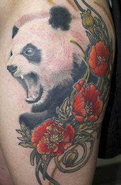 Mouth Open Panda Tattoos tobiastattoo.com #panda #tattoo