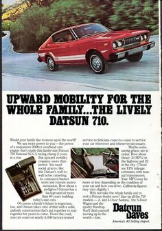 Items similar to DATSUN 710 Car Ad 1975 Datsun 710 Red and White Japanese Auto Original Vintage Wall Decor on Etsy Vintage Ads, Vintage Advertisements, Datsun Car, Old Classic Cars, Classic Auto, Rx7, Transporter, Japanese Cars, Vintage Japanese
