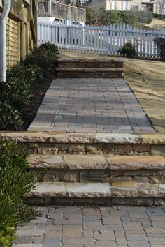 Concrete Paver Walkway with Flagstone Steps