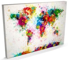 Paint Splashes Map of the World Map Canvas Art Print by artPause