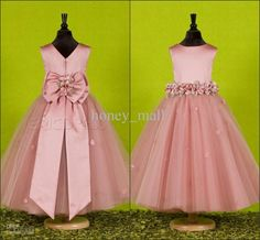 Wholesale Charming rose red capped stunning waist embellished flower ball gown tulle ankle length flower girl pageant dress ZW122, Free shipping, $90.91/Piece   DHgate