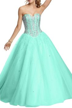 Angel Bride Evening Dresses Ball Gowns Tulle Quinceanera Dresses Prom Gowns Long Turquoise- US Size 6