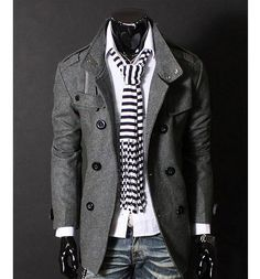 Fashion Stand Collar Double Breasted Long Sleeves Woolen Windbreaker For Men - Gray - Preppy Winter Outfits, Adrette Outfits, Style Masculin, Mens Windbreaker, Long Trench Coat, Outfit Trends, Outfit Ideas, Warm Coat, Double Breasted