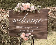 Rustic Wedding Welcome Sign Wood Rustic Wood Wedding Sign Welcome Wedding Signs Wooden Wedding Signs Painted - Easel Not Included