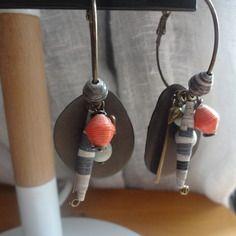 Créoles bronze grises et oranges esprit nature