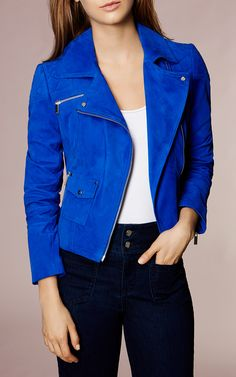 Karen Millen, COBALT-BLUE SUEDE BIKER JACKET Blue My absaloute dream. My favourite style of jacket and colour in suade.