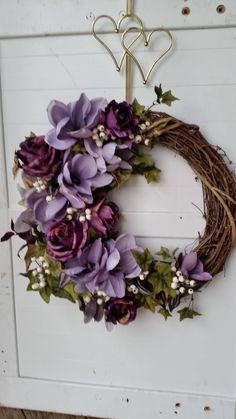 Lavender Grape Shades, Magnolia Grapevine Wreath by GoodWreathsByKathy on Etsy