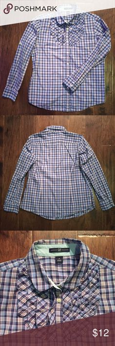 "GAP Plaid Button Down Shirt GAP blue & pink plaid button down shirt. Size 14. Sort and relaxed. Round collar; ruffled tuxedo detailing. Sleeves 23"" from shoulder to cuff. 26"" from shoulder to hem. Lightly worn; in good condition. GAP Tops Button Down Shirts"