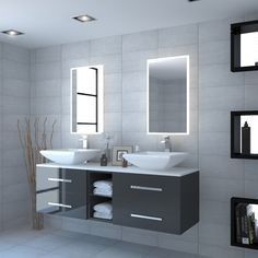 Grey large bathroom wall hung double basin with white glass work top Bathroom Sink Units, Bathroom Vanity Tops, Bathroom Wall, Bathroom Storage, Modern Bathroom, Bathroom Basin Cabinet, Grey Bathroom Furniture, Contemporary Bathroom Furniture, Bathroom Ideas