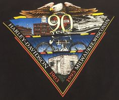 Vtg Harley Davidson Shirt L Milwaukee WI Rapid City SD Well Worn Bald Eagle 1993