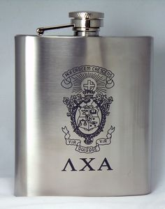 Lambda Chi Alpha Laser Engraved Crest Brushed Silver 8 oz. Stainless Steel Flask