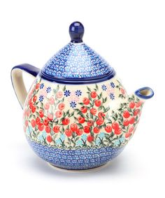 Take a look at this Red Berry Field Atena Teapot by Lidia's Polish Pottery on #zulily today!
