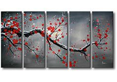 This Winter Plum five-piece oil hand-painted canvas art set makes a perfect focal point for a large wall. Shades of white, grey and black are accented with romantic red tones on this gorgeous canvas a Hand Painted Canvas, Canvas Wall Art, House Canvas, Oversized Canvas Art, Ideias Diy, Art Mural, Of Wallpaper, Painting Inspiration, Art Images