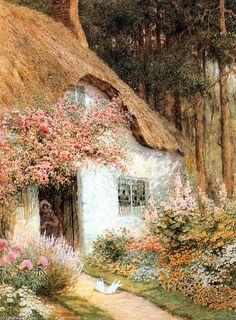 'Doves Before Cottage' by Arthur Claude Strachan (1865-1938, United Kingdom)