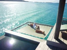 """Ocean trampoline in our suite at Four Seasons Resort Bora Bora"""