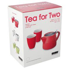 Stump teapot and mugs - red
