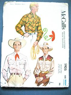 Uncut 1950s Men's WESTERN SHIRT  Vintage McCalls 1925 Sewing Pattern  Button Down Inverted Points Yoke & Pockets   Chest 38 inches