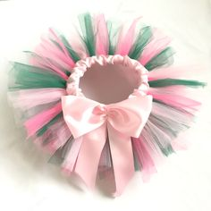 Tinkerbell tutu with ribbon waistband and bow. https://www.etsy.com/uk/listing/498084846/tinkerbell-pink-and-green-tutu?ref=shop_home_active_4