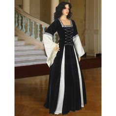 Gothic Style Gown Lady of Essex No 15 darkblue/white (1.445 DKK) ❤ liked on Polyvore featuring dresses, dark olive and women's clothing