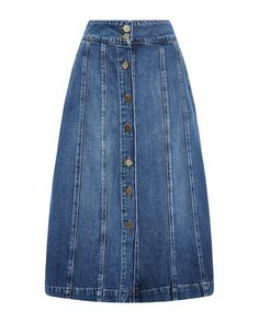 Frame Le Panel Button-front Denim Skirt In Belfast Jupe Midi Jean, Light Blue Skirts, Button Front Denim Skirt, Fashion Week 2015, Michael Kors Collection, Frame Denim, Skirt Outfits, Denim Fashion, A Line Skirts