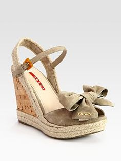 Prada - Suede Espadrille Slingback Wedge Sandals With Bow