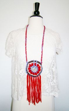 FREE SHIPPING - Festival Pouch with Fringe and Button - Coin Purse, Medicine Bag, Wallet, Necklace - Brown, Tan, Purple, Red, White. $18.00, via Etsy.
