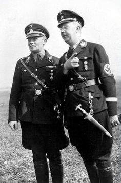 Himmler with Hans Baur, Hitler's personal pilot until the very end. Baur cured Hitler of his fear of flying and was immediately ordered to assume command of the Fuhrer's personal squadron. Baur was taken prisoner by the Russians at the end of the war and spent 10 years in captivity. He returned to Germany and worked for Lufthansa until shortly before his death in 1993.