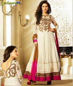 Shop online modern style #NargisFakhri Off White Pink #AnarkaliSuit at much discount price. Shop Now:- http://www.shoppers99.com/nargis_fakhri_bollywood_anarkali_suits/nargis_fakhri_off_white_pink_floor_length_an_t-505-836_1