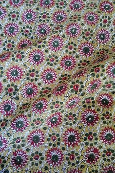 """Pure Cotton Floral Print Yellow Fabric 43"""" Wd Sewing Making Kurti Craft By 1 Yd"""