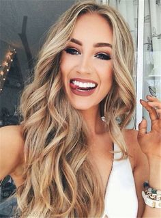 Sexy Long Wavy Middle Part Lace Front Human Hair Wigs 24 Inches