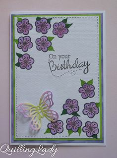 Quilling Lady: Purple watercolour flowers and a summer butterfly