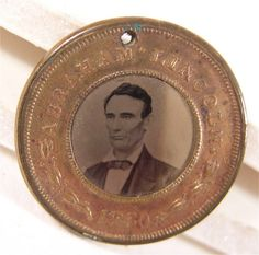 1860 ABRAHAM LINCOLN / HANNIBAL HAMLIN FERROTYPE PRESIDENTIAL CAMPAIGN PIN.