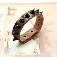 Black Rivet Leather Bracelet